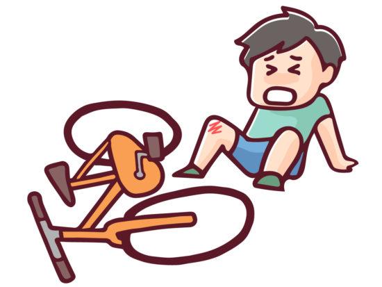 自転車で転ぶをイメージする絵